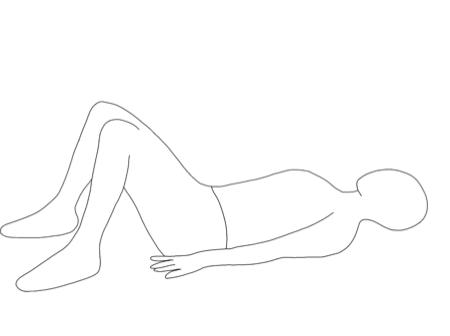 仰向けに寝て膝を曲げます