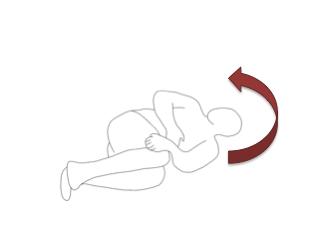 右手で左の肋骨(脇腹)を把持して、ひねります