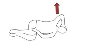 右手を頭の後ろに置いて、体を開きます