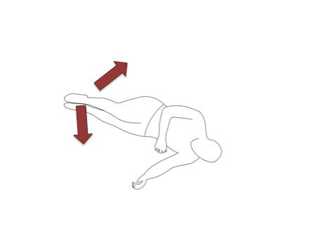 右側を上に横向きで寝ます。枕はあってもなくてもどちらでも大丈夫です。
