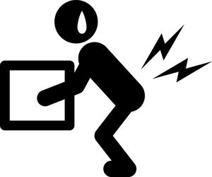 荷物を床から持ち上げた際に腰を痛めた人のイラストになります