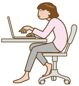 パソコン作業で姿勢が悪い女性のイラスト