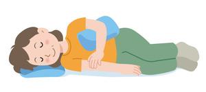 横向きで寝て、腕にクッションを挟む女性のイラスト