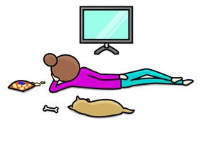 横向きで立て肘で腕枕をして寝る女性のイラスト