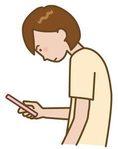 スマートフォン操作で姿勢が悪い人のイラスト