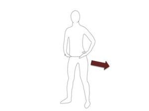 股関節の前に手を当てて立ちます