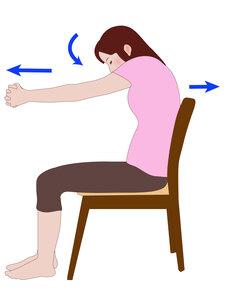 腕を前に伸ばす動き
